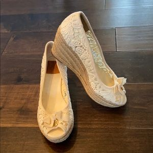 Tory Burch Jackie Crochet Lace Espadrille Wedges